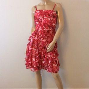 WHBM size 12 pink strapless ruffle dress large
